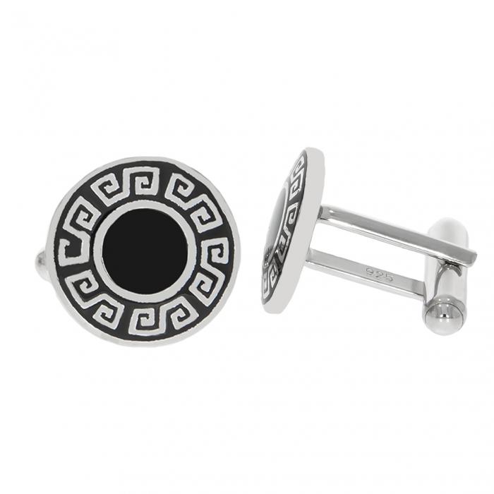 Butoni din argint rotunzi cu model grecesc evidențiat cu email negru [1]