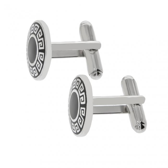 Butoni din argint rotunzi cu model grecesc evidențiat cu email negru [2]
