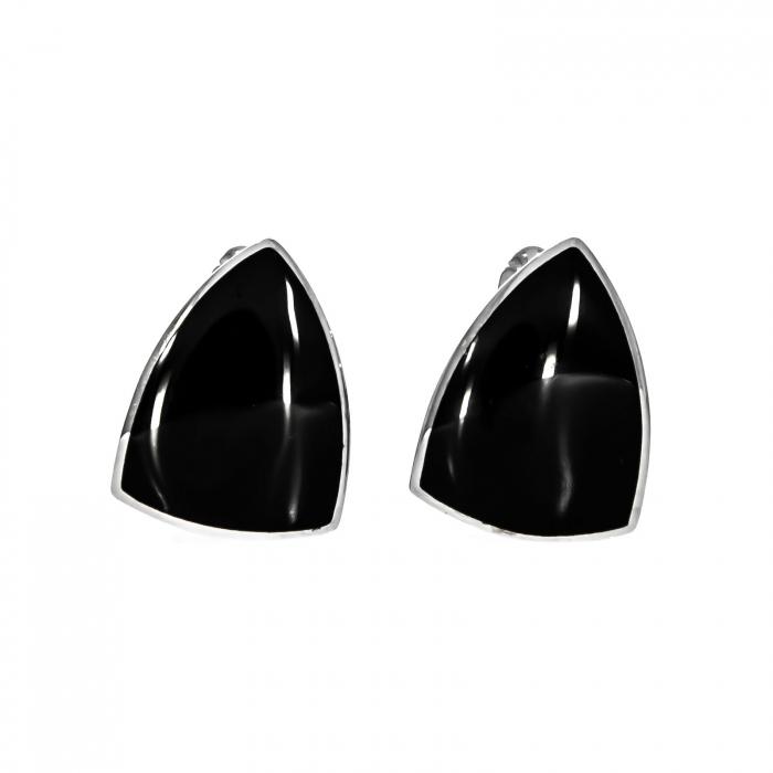Butoni din argint triunghiulari cu email negru [0]