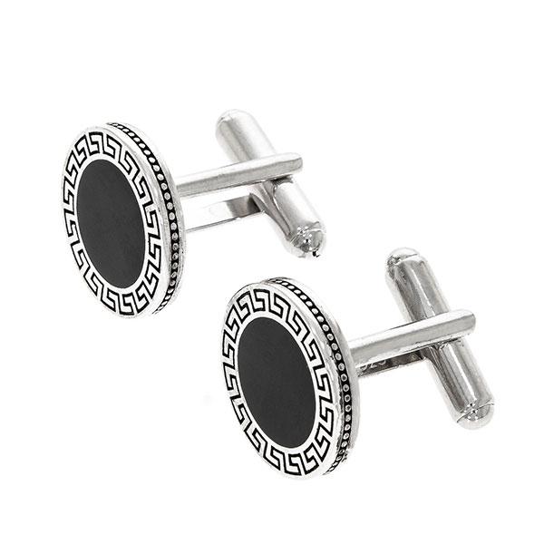 Butoni eleganți din argint rodiat 925 model grecesc cu email negru [1]