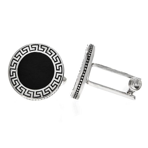 Butoni eleganți din argint rodiat 925 model grecesc cu email negru [0]