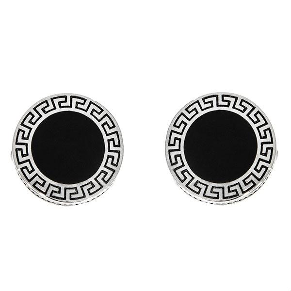 Butoni eleganți din argint rodiat 925 model grecesc cu email negru [2]