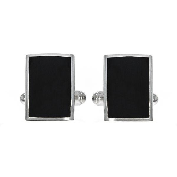 Butoni eleganți din argint rodiat 925 model dreptunghiular cu email negru [1]