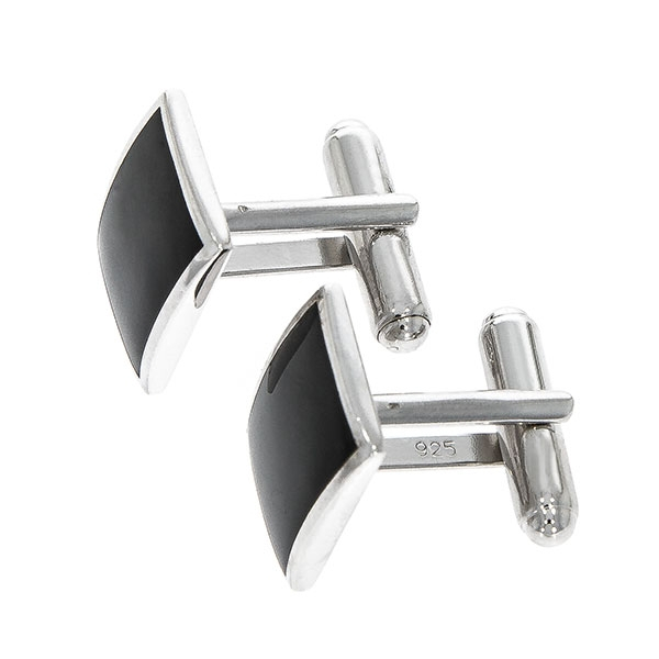Butoni eleganți din argint rodiat 925 model dreptunghiular cu email negru [3]