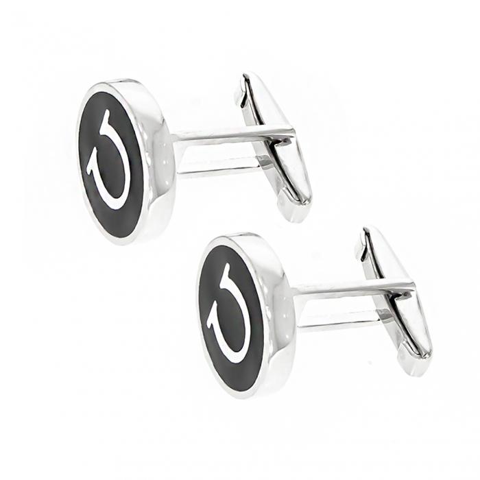 Butoni rotunzi din argint 925 cu email negru [1]