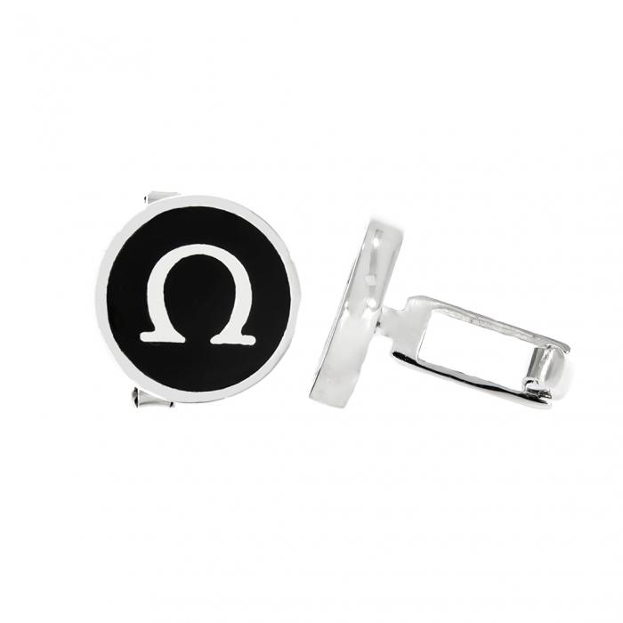 Butoni rotunzi din argint 925 cu email negru [0]