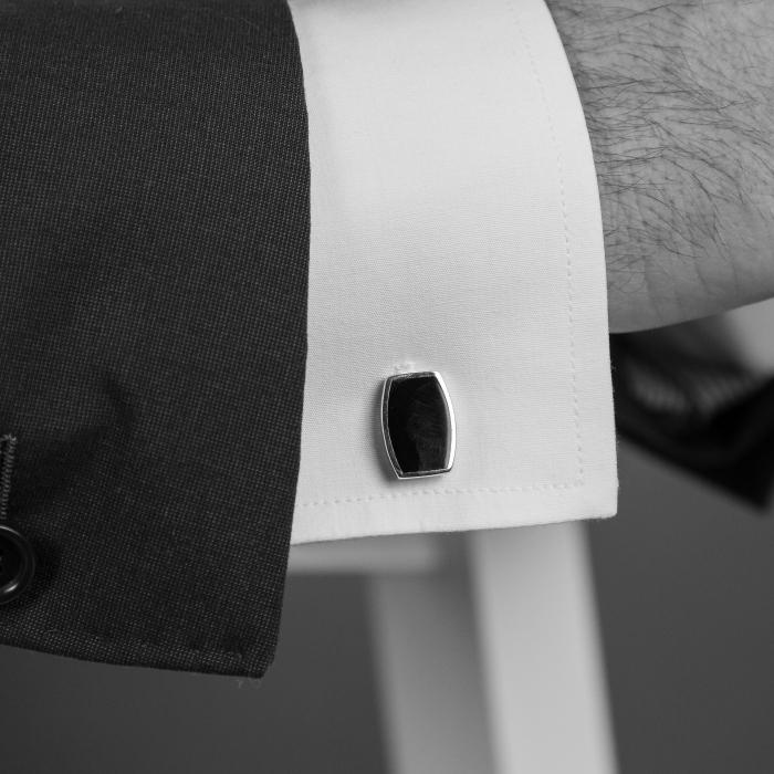 Butoni eleganți dreptunghiulari din argint 925 cu email negru [3]