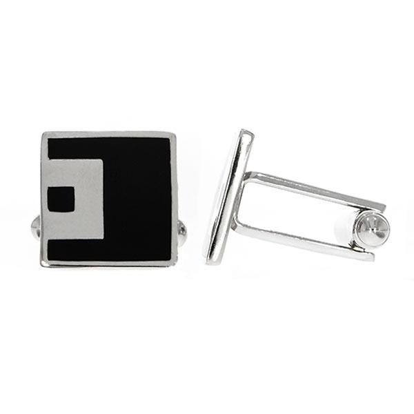 Butoni eleganți din argint rodiat 925 model pătrat cu email negru [0]
