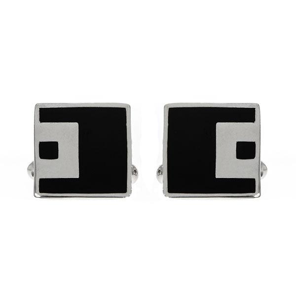 Butoni eleganți din argint rodiat 925 model pătrat cu email negru [2]