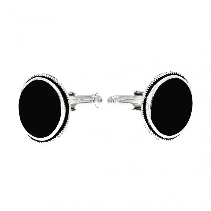 Butoni ovali din argint 925 cu agat negru [2]