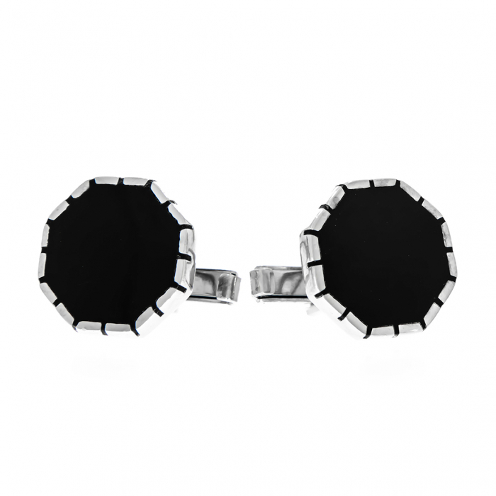 Butoni din argint 925 octogonali cu email negru [2]