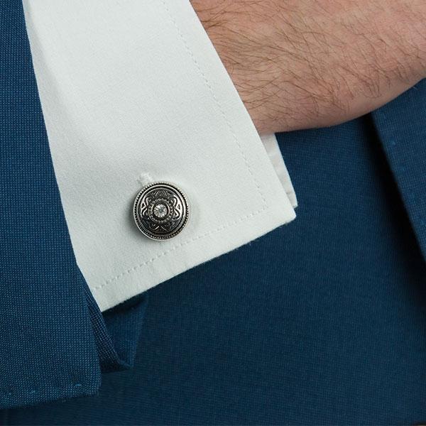 Butoni rotunzi din argint antichizat cu cristale și email [0]