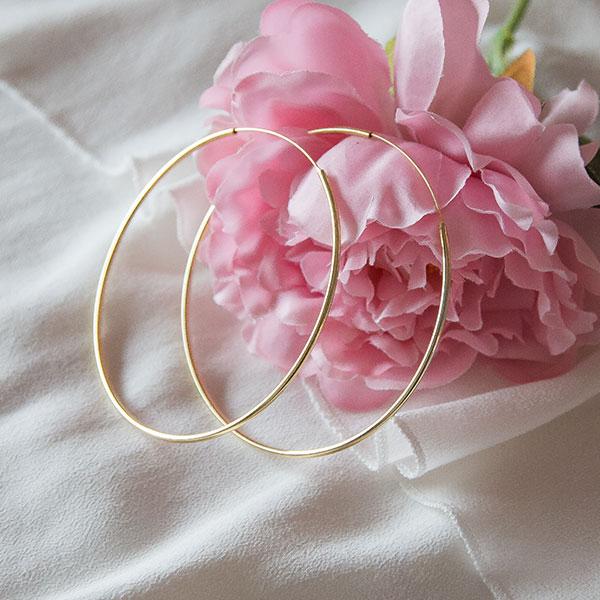 Cercei cercuri subțiri maxi size din argint placat cu aur [2]