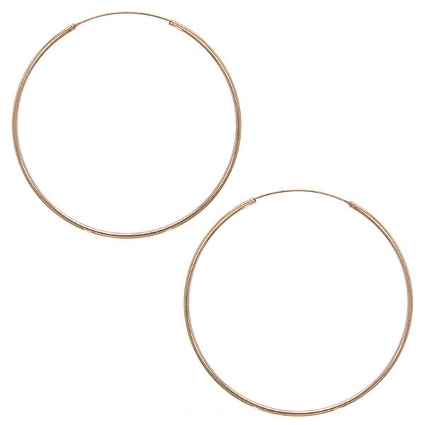 Cercei cercuri subțiri mari din argint placat cu aur rose [0]
