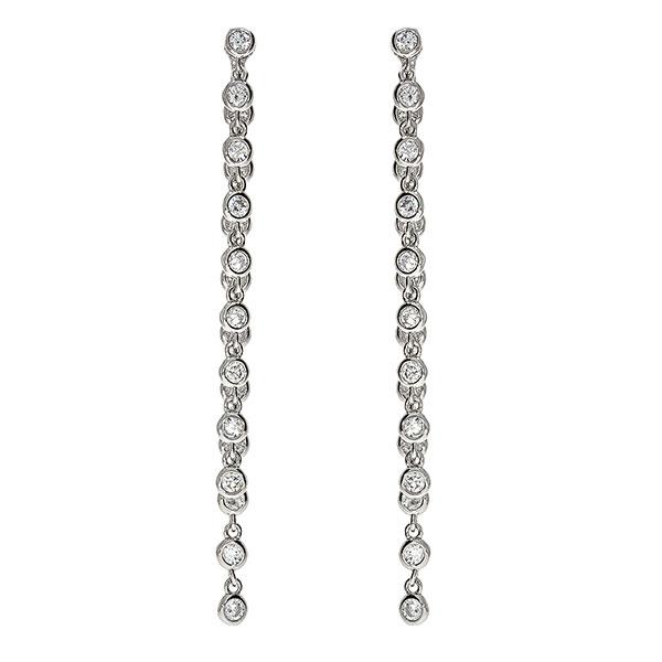Cercei eleganți, lungi din argint rodiat și cristale de zirconiu [0]
