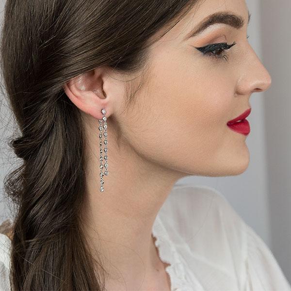 Cercei eleganți, lungi din argint rodiat și cristale de zirconiu [1]