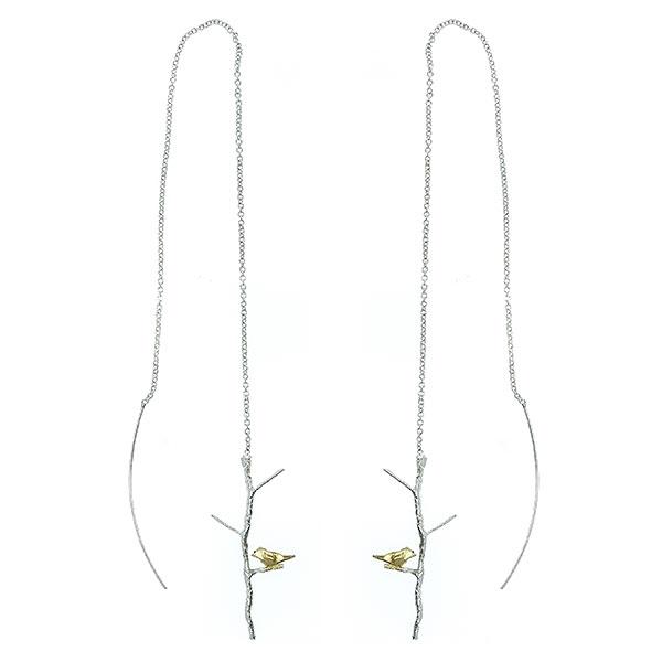 Cercei argint lungi cu lănțișor și păsări aurii [0]
