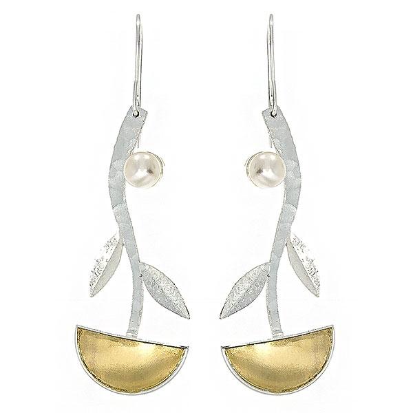 Cercei lungi din argint satinat cu porțiuni aurite și perle de cultură [0]