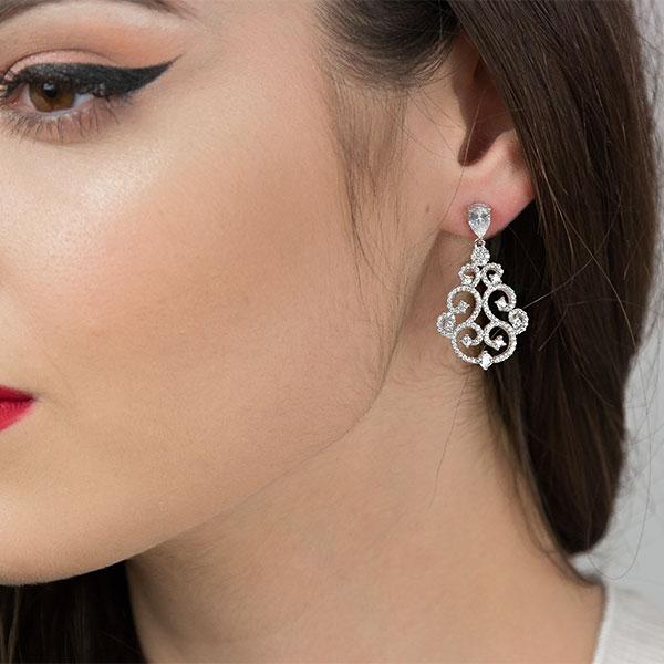Cercei deosebiți eleganți din argint rodiat cu zirconii [1]