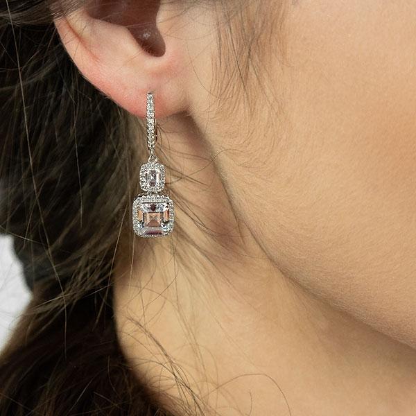 Cercei eleganți din argint rodiat, cu pietre strălucitoare de cubic zirconia [1]