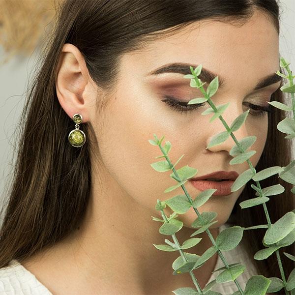 Cercei deosebiți din argint cu pietre naturale de chihlimbar verde [2]
