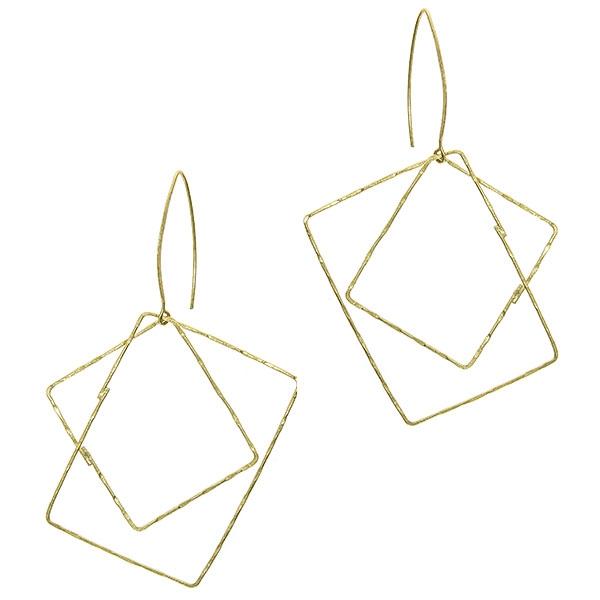Cercei argint satinat aurit, moderni, lungi cu forme geometrice [0]