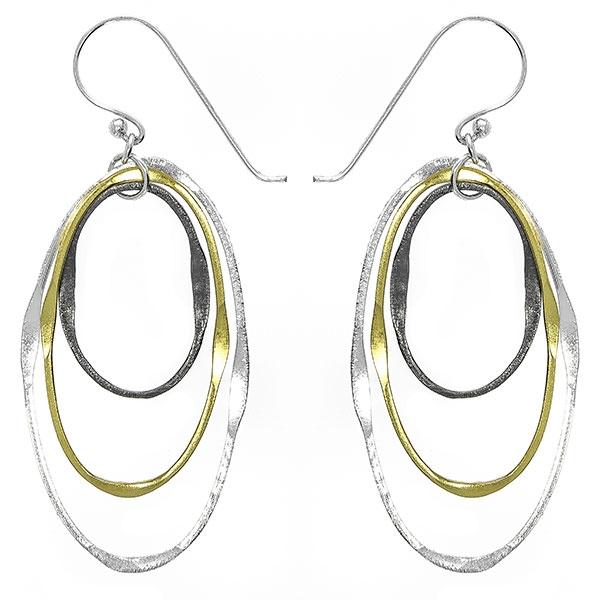 Cercei lungi din argint formați din forme ovale rodiate și placate cu aur [1]