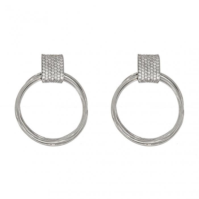 Cercei din argint cu cercuri și zirconii [1]