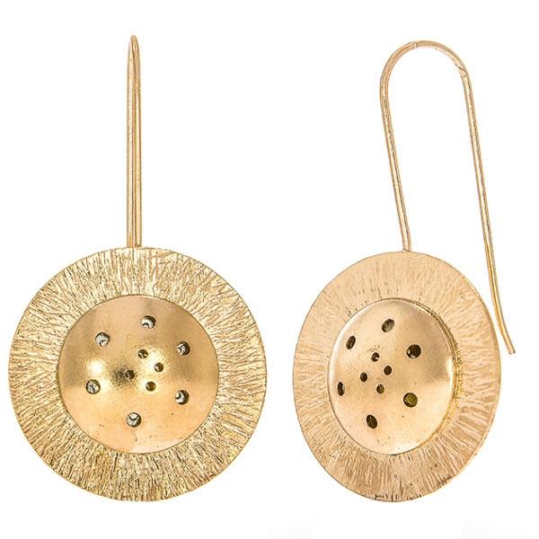 Cercei moderni eleganți din argint placat cu aur rose [0]