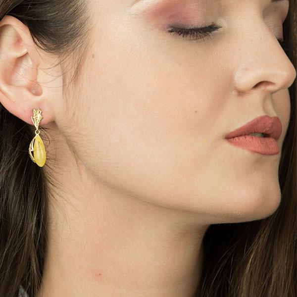 Cercei lungi eleganți din argint placat cu aur și chihlimbar galben natural [1]