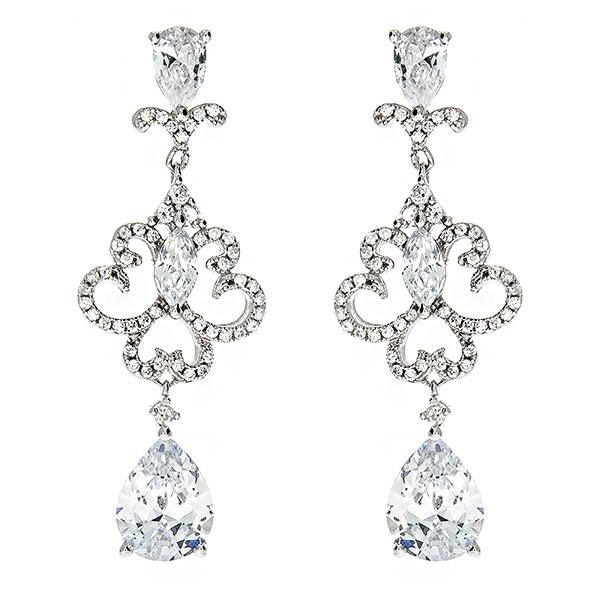 Cercei eleganți din argint rodiat cu cristale strălucitoare [0]