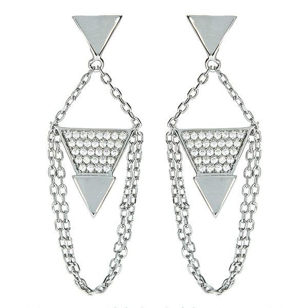 Cercei eleganți lungi din argint rodiat cu lănțișoare și zirconii [0]