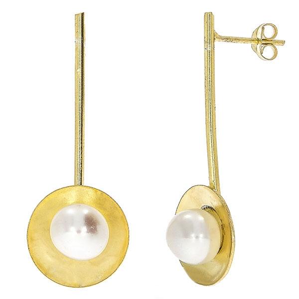 Cercei lungi din argint placat cu aur și perle [1]