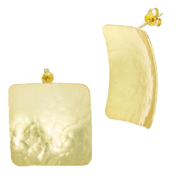 Cercei argint pe lob, model pătrat cu aspect satinat, placați cu aur [1]