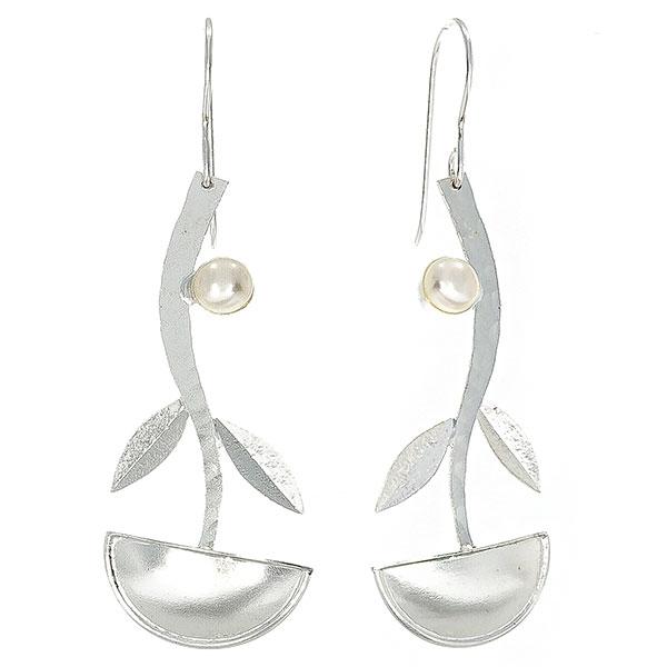 Cercei lungi eleganți din argint satinat mat cu perle de cultură [2]