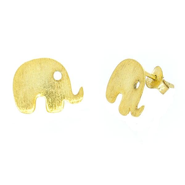 Cercei pe lob din argint aurit model elefanți [2]