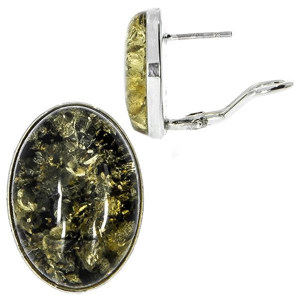 Cercei argint eleganți din argint, pe lob, cu chihlimbar baltic [2]