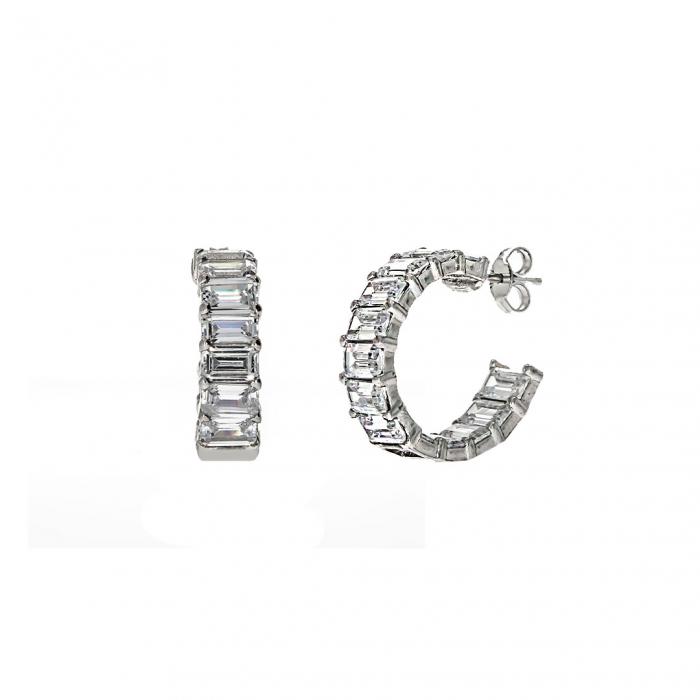 Cercei rotunzi,deschiși, din argint 925 rodiat decorați cu zirconii [2]