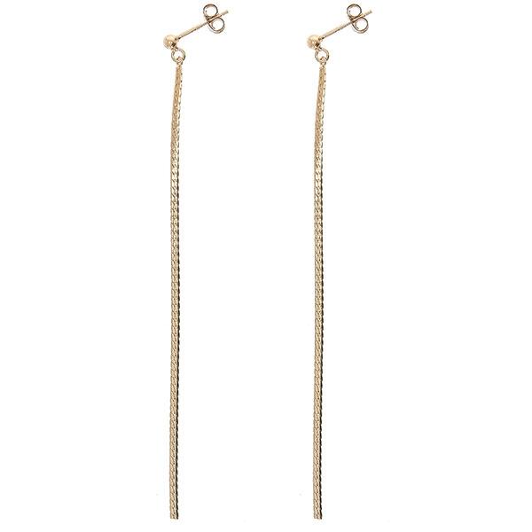 Cercei fir din argint lungi, placați cu aur rose [0]