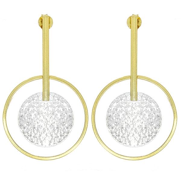 Cercei lungi din argint placat cu aur, design elegant [0]