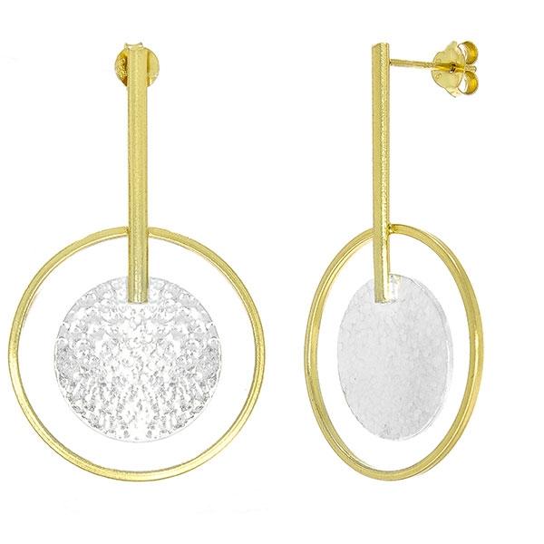 Cercei lungi din argint placat cu aur, design elegant [2]