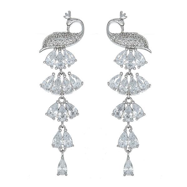 Cercei lungi argint rodiat cu păunițe și cristale strălucitoare [0]