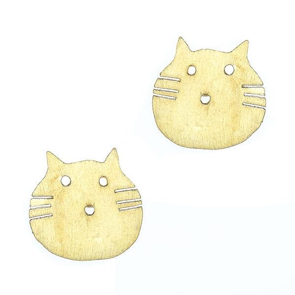 Cercei din argint satinat aurit pe lob cu pisicuțe [0]
