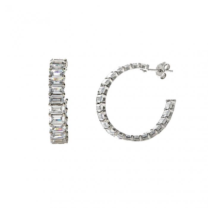 Cercei semirotunzi din argint 925 rodiat decorați cu zirconii [2]