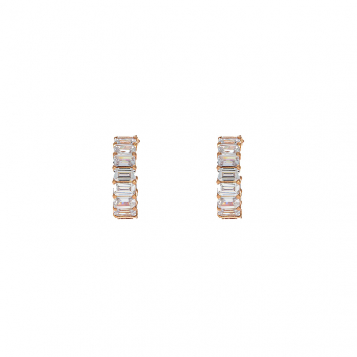 Cercei semirotunzi din argint rose și cristale de zirconiu [1]