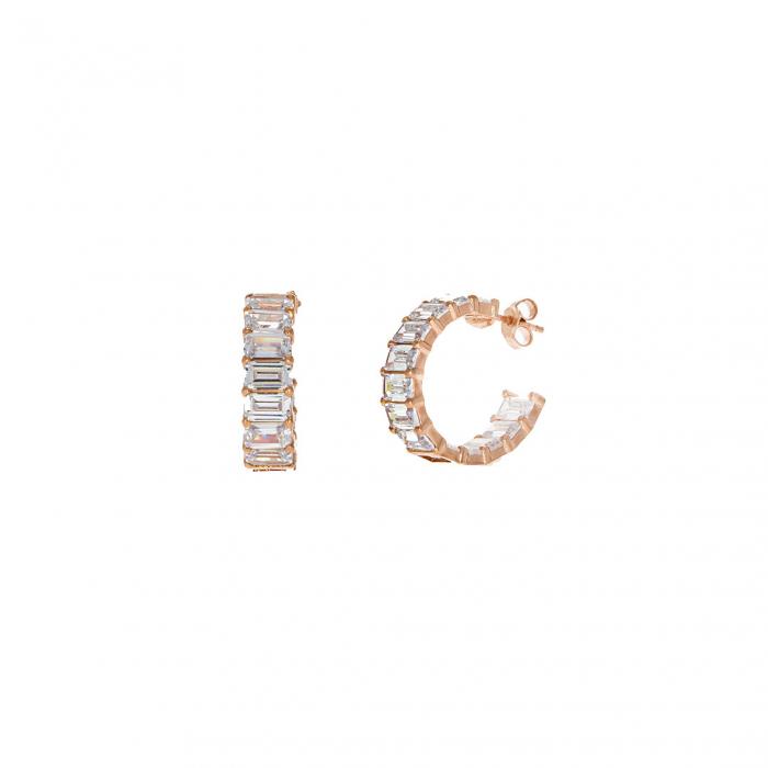 Cercei semirotunzi din argint rose și cristale de zirconiu [2]
