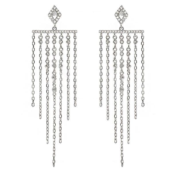 Cercei stil candelabru din argint rodiat cu lănțișoare și cristale [1]