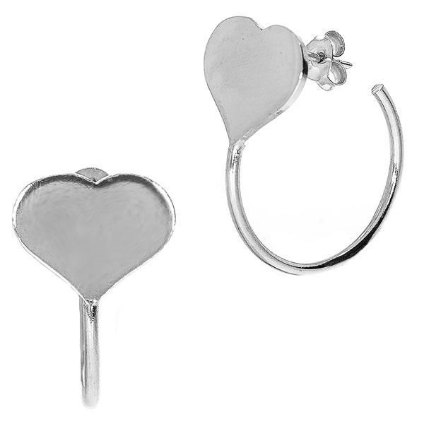 Cercei casual eleganți din argint rodiat cu inimi, pe lob [0]