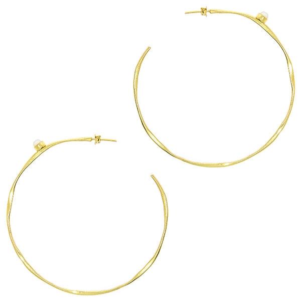 Cercei cercuri mari din argint placat cu aur și pietre ochi de pisică [0]