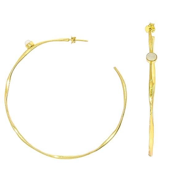 Cercei cercuri mari din argint placat cu aur și pietre ochi de pisică [2]